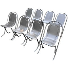 Harlequin Set of Eight Steel Stak-A-Bye Chairs, Newly Powder-Coated