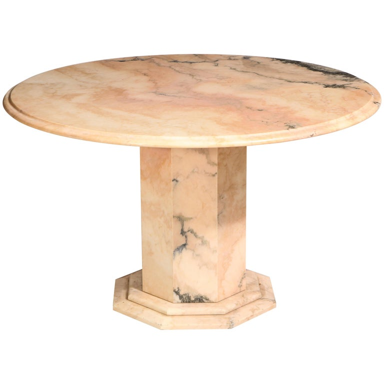 Pink Beige Black Round Marble Centre Dining Table, Late 20th Century, France