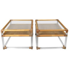 Pair of 1970s Lucite and Rattan Tables