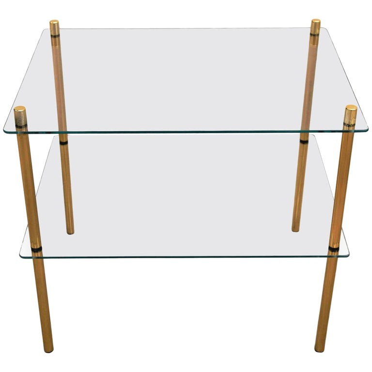 1980s Italian Hollywood Regency Style Brass and Glass Two Shelves Side Tables