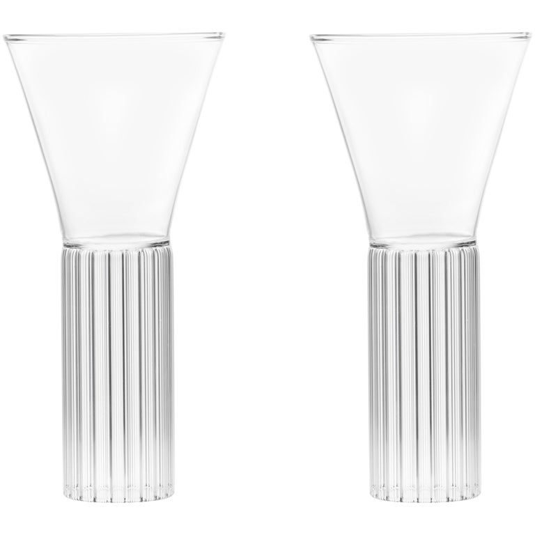 Set of Two Czech Clear Contemporary Sofia Medium Cocktail Wine Glasses, in Stock