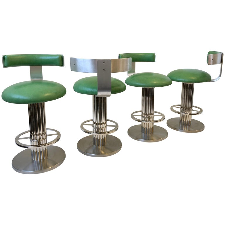 Set of Four Chrome and Leather Swivel Barstools by Design for Leisure Ltd