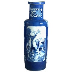 Large 19th Century Blue and White Porcelain Rouleau Vase