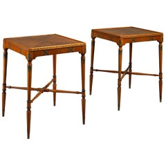 Pair of Satinwood End Tables in the Sheraton Taste