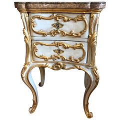 Italian Baroque Painted and Parcel-Gilt Commodini