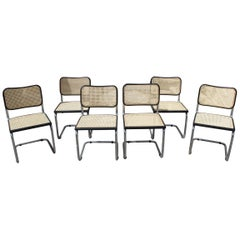"1970s Set of Six Marcel Breuer Cane and Chrome ""Cesca"" Chairs"