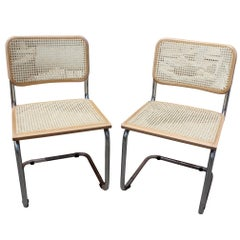 "1970s Pair of Marcel Breuer Cane and Chrome ""Cesca"" Chair"