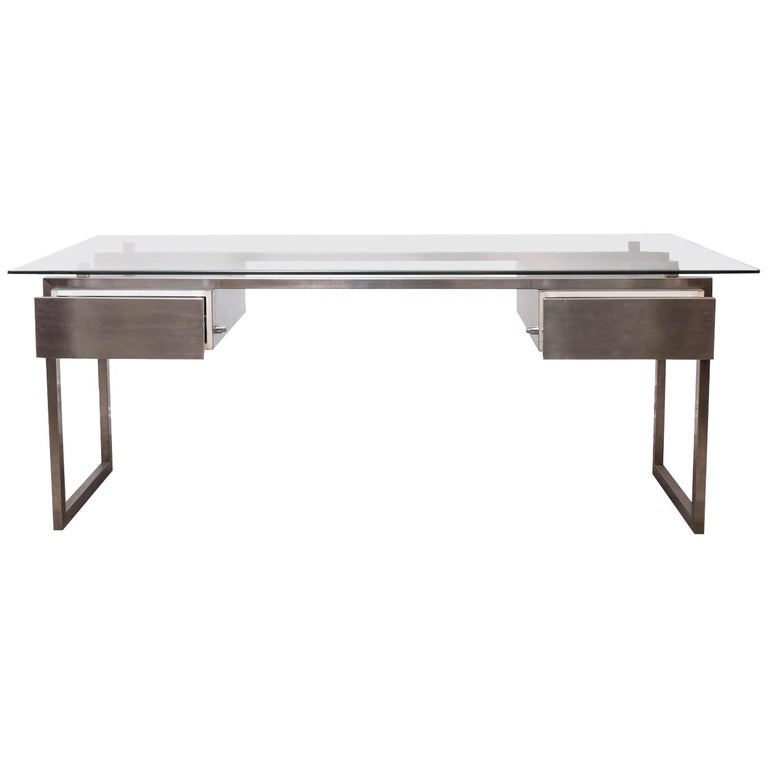Brushed Stainless Steel President Desk Glass Top, Patrice Maffei, circa 1970