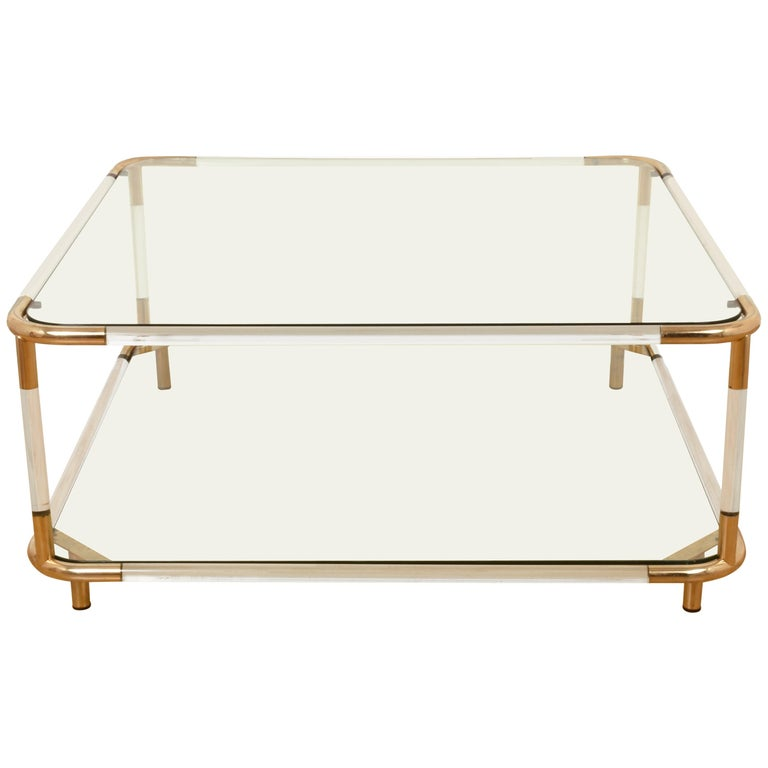 Charles Hollis Jones plexiglass and Brass Square Cocktail Table, Two-Tier Glass