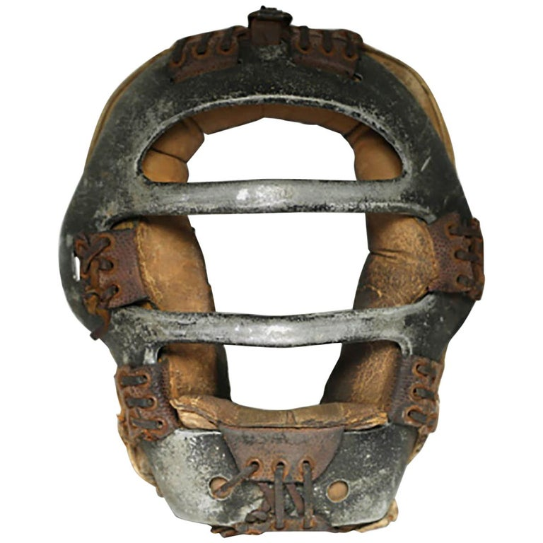 Early 20th Century Steel and Leather Catcher's Mask, circa 1940s