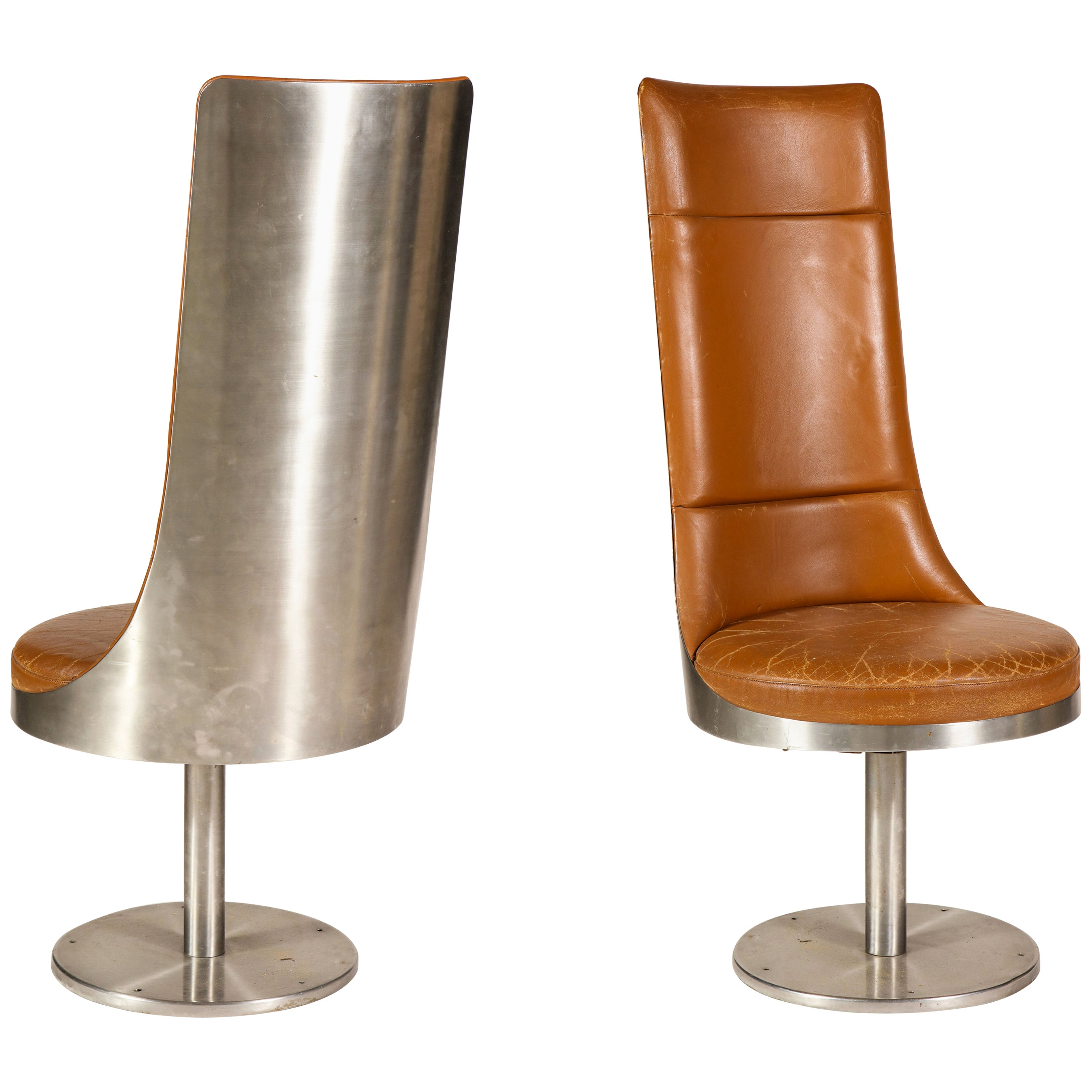 Maria Pergay for Architonic Pair of Steel Brown Leather Chairs, France