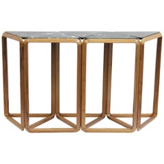 Contemporary Console Table in Wood and Marble, Brazilian Design
