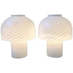 Pair of Italian Murano Glass Mushroom Table Lamps by Vetri