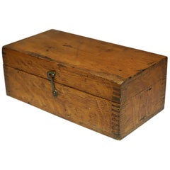 Vintage Wooden Box with Dovetails Joints, circa 1880s-1920s