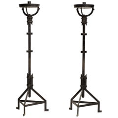 Impressive Pair of Italian Wrought Iron Torchères