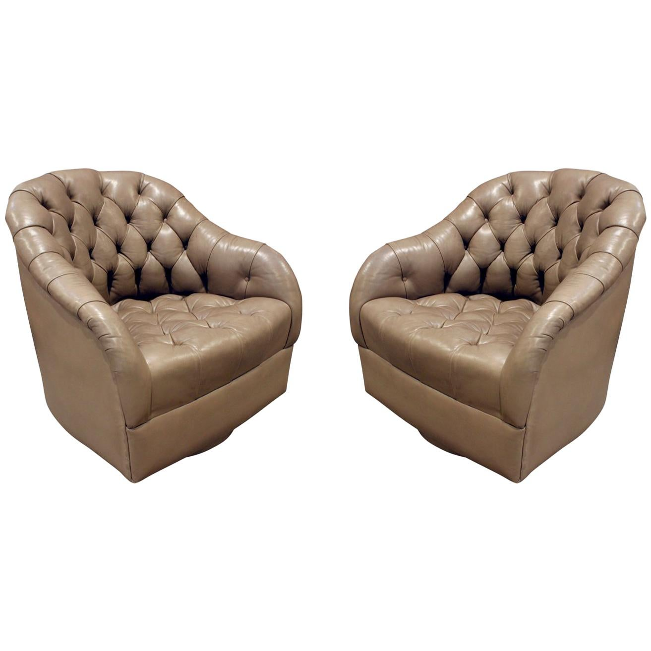 Ward Bennett Pair Of Swiveling Tufted Leather Club Chairs, 1960s For Sale