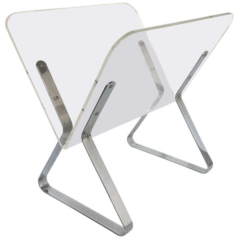 Milo Baughman Style Mid-Century Modern Chrome and Lucite Magazine Stand, 1960s