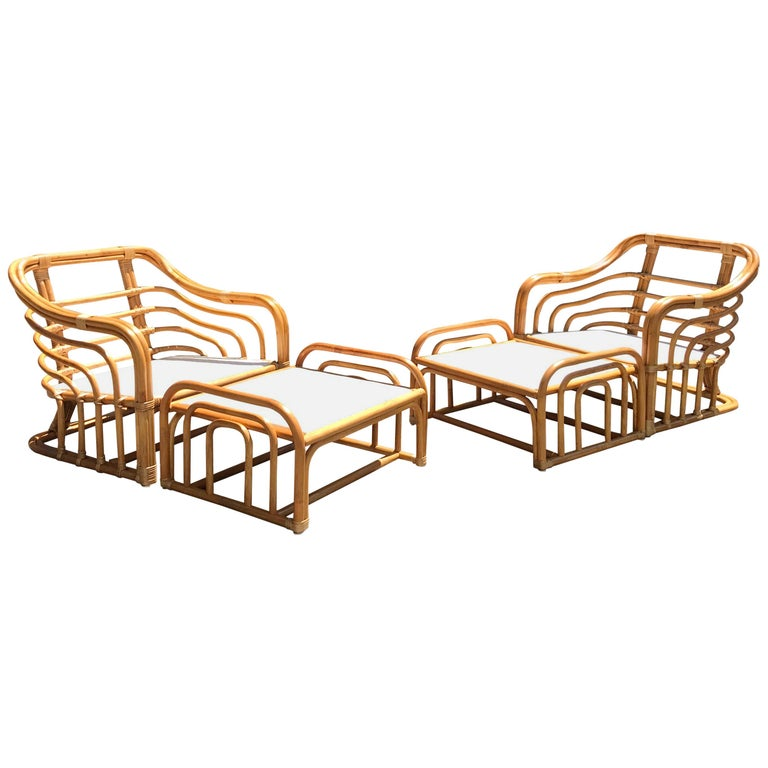 Vintage Brown Jordan Rattan Lounge Chairs with Ottomans