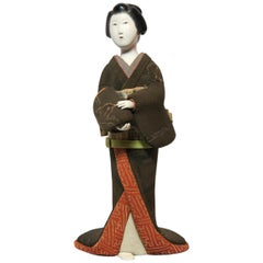 Japanese Kimekomi Woman Doll Wearing Silk Kimono, Style of Taisho Romance, 1920s
