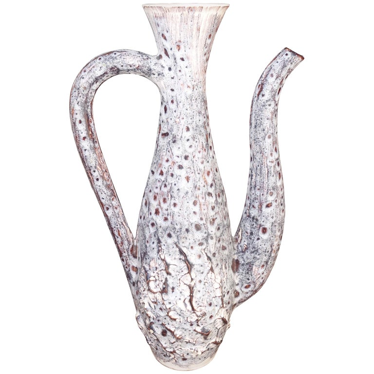 Vallauris Decorative Handled Pitcher, France, Midcentury