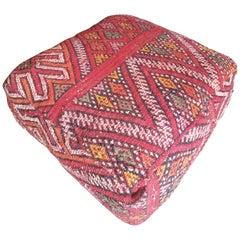 Moroccan Kilim Pouf or Ottoman, LM 3