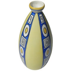 Royal Blue and Yellow Decorative Porcelain Vase, France, Midcentury