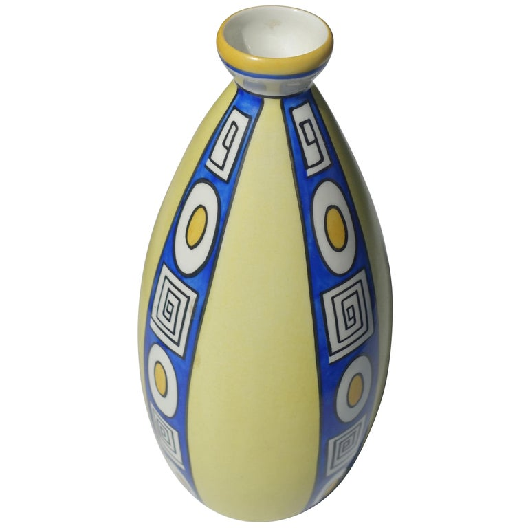 Royal Blue And Yellow Decorative Porcelain Vase France Midcentury