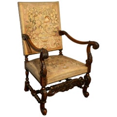 French Carved Walnut and Tapestry Library Chair