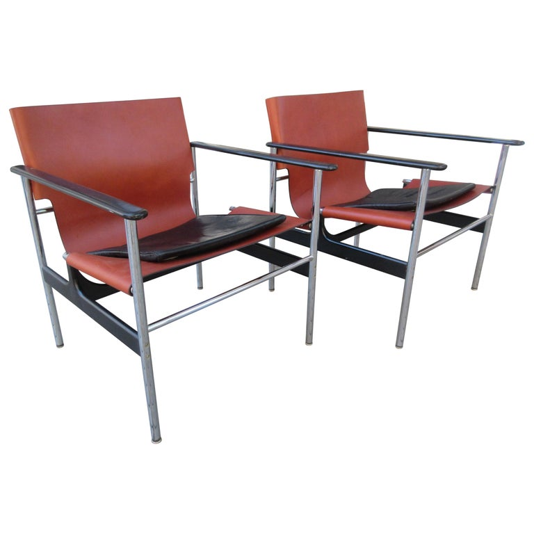 Charles Pollack for Knoll Model 657 Leather Sling Chairs