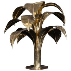 Italian Vintage Brass Plant Table Lamp, 1980s