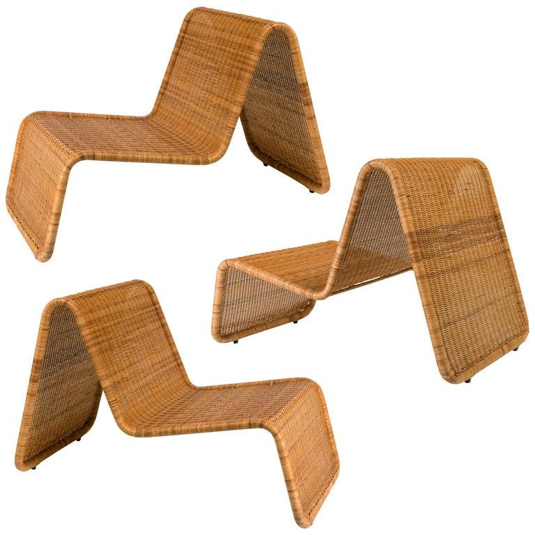 "Tito Agnoli ""P3"" Woven Wicker Stackable Lounge Chairs for Bonacina, Italy, 1960s"