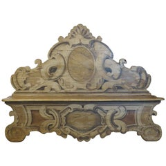 19th Century French Oak, Hand-Painted Venetian Style Bench