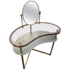 1940s Italian Stamped Brass Glass Vanity and Attached Mirror
