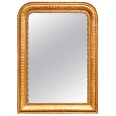 Mid-19th Century French Louis Philippe Gilt Mirror with Engraved Stripe Motifs
