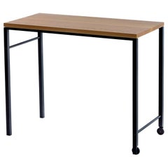 AT16 White Oak Writing Desk, Occasional Table, with Blackened Steel and Castors