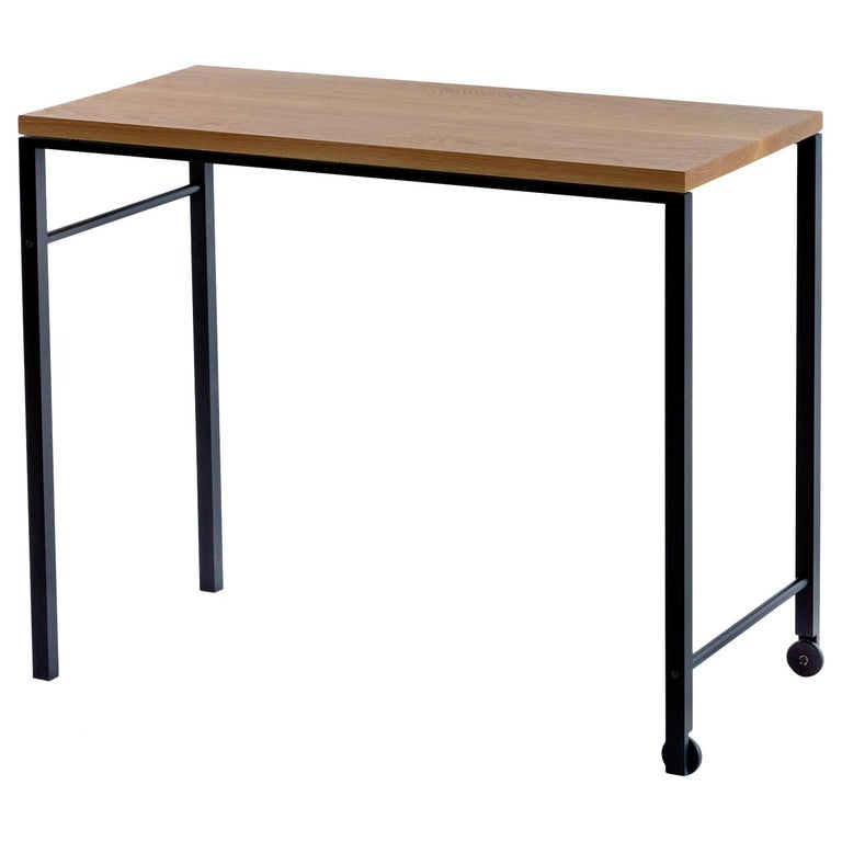 AT16 White Oak Writing Desk, Occasional Table, with Blackened Steel and Castors For Sale