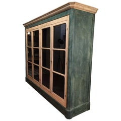 19th Century French Hand-Painted Wood Display Cabinet with Four Glass Shutters
