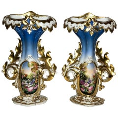 Pair of Antique Mid-19th Century Old Paris Vases
