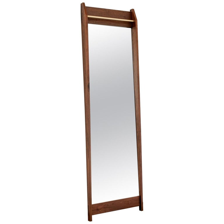 Am1, Solid Walnut Full Length Mirror with Upper Bronze Bar