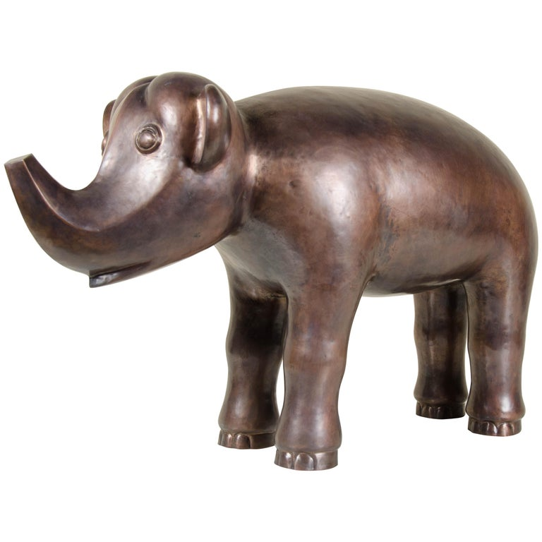 Elephant, Antique Copper by Robert Kuo, Hand Repoussé, Limited Edition For Sale