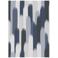 Vale Wallpaper or Custom Mural on Non-Woven Paper in Color Winter - Blue