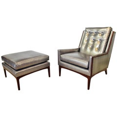 Italian Modern Walnut Armchair and Matching Ottoman, Style of Ponti, 1960s