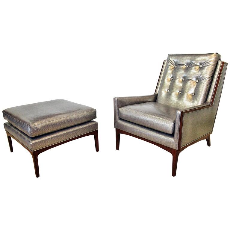 Italian Modern Walnut Armchair and Matching Ottoman, Style of Ponti, 1960s