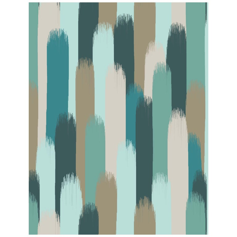 Vale Wallpaper or Custom Mural on Non-Woven Paper in Color Sage - Teal