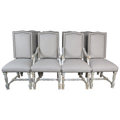 Set of Eight Swedish Dining Chairs with Belgium Linen