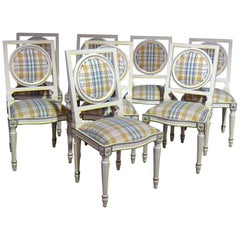 Set of Eight Louis XVI Style Dining Side Chairs