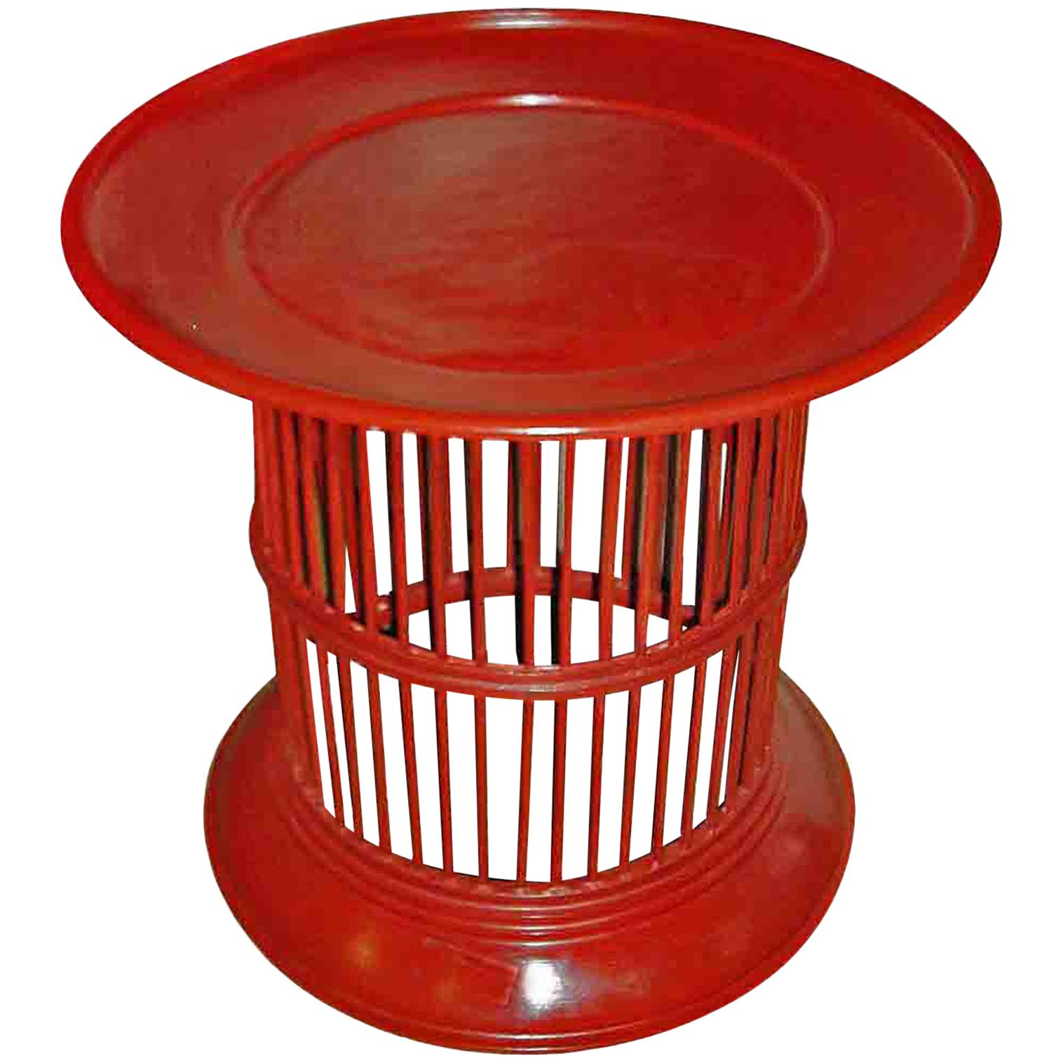 Lacquered Bamboo Drum Table From Thailand, In Red Or Green