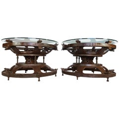 Pair of Industrial Tractor Wheel Tables