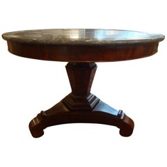 19th Century French Restauration Period Walnut Center Table with Gray Marble Top