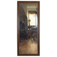 Tall and Slender French Neoclassical Giltwood and Painted Mirror, 2ndq 19th cen.